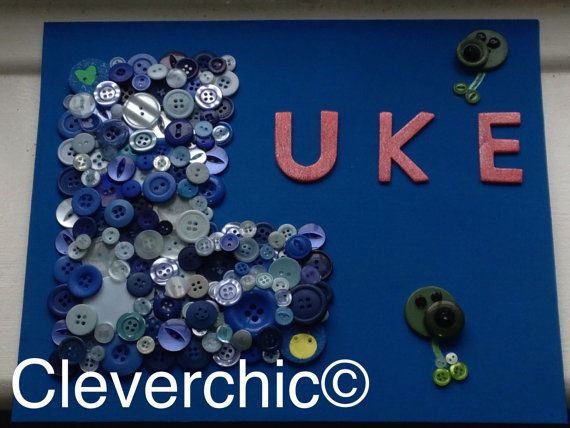 Button Art name canvas Ideal for direct wall hanging, fab present and would look great on a bedroom door.