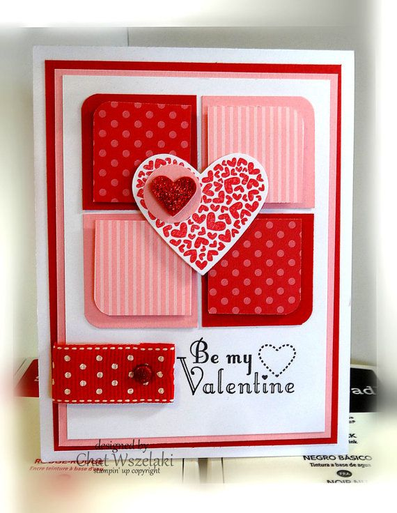 Item: valentines card Description: Card stamped using quality papers, inks, ribbon and embellishments. Embellishment: polka dot ribbon, glimmer