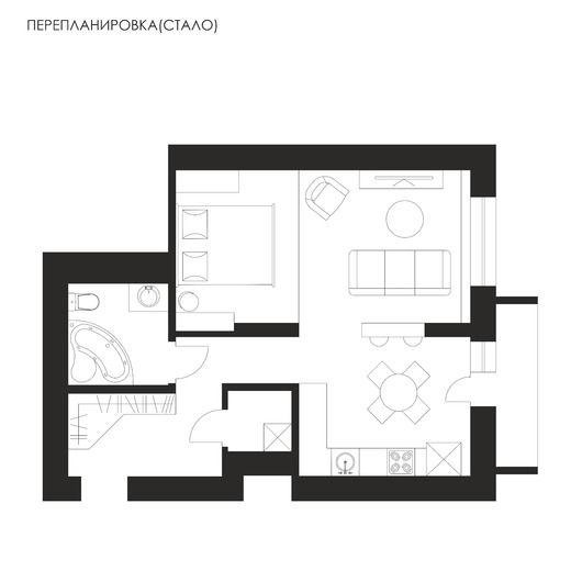 Однокомнатная квартира в скандинавском стиле. Планировки