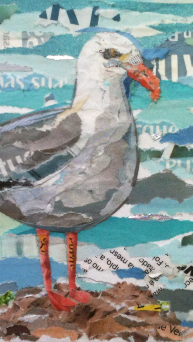 SEAGULL (magnified) / collage / paper on cardboard anti-uv protection / 13 x 13cm / ©philippe patricio 2014 / all rights reserved