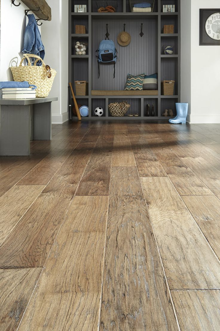 "Impressions Esteem Slate | Prefinished Hickory Hardwood | Engineered | 7"" wide width 