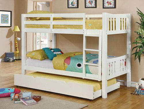 Furniture of America Cameron Collection White Twin/Twin Bunk Bed with Trundle CM-BK929WH