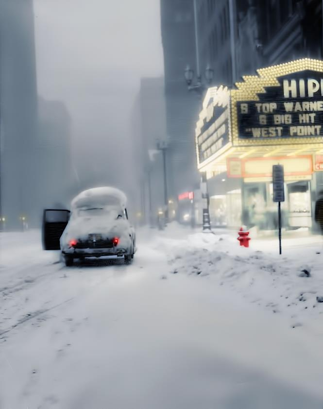 ❤ The stars of the night ❤  Thanksgiving snowstorm 1950  Euclid Avenue at 4:15 p.m. on Nov. 26, 1950, looking west from 709 Euclid at the marquee of the Hippodrome. (Cleveland News)  Restored and colorized 2013 Jan © By Marie-Lou Chatel