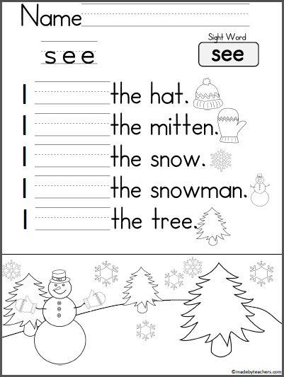 Kindergarten Sentence Practice Worksheets