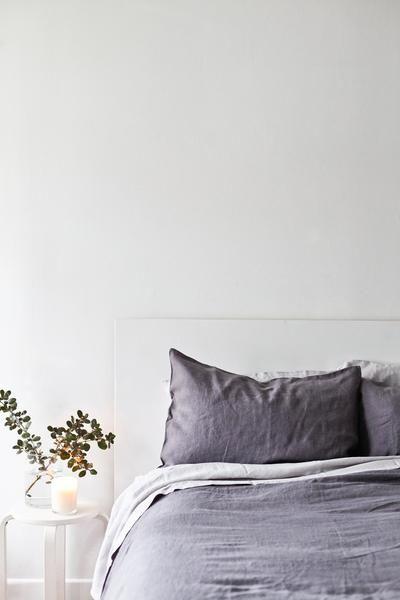 Stonewashed Linen Queen Duvet - Dark Grey