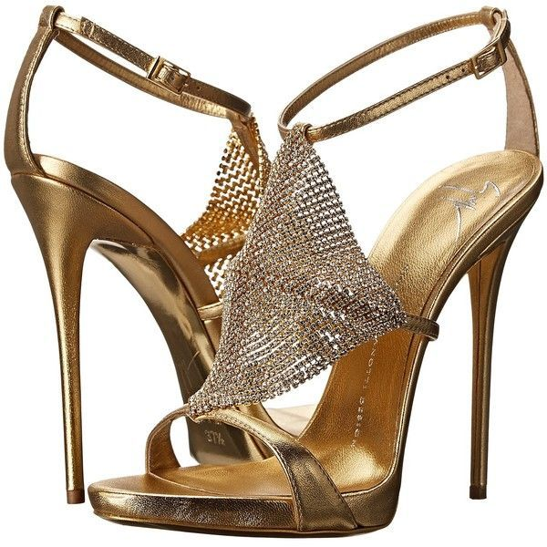 2e62936b5ef0 Giuseppe Zanotti E50307 (Metallic) Women s Shoes ( 628) ❤ liked on Polyvore  featuring