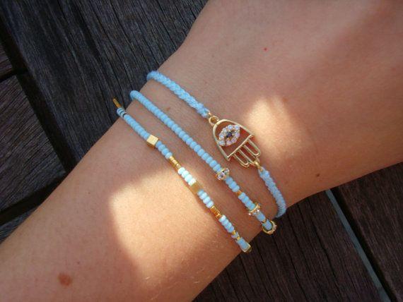 Evil Eye Beaded  Hamsa Bracelet  - Friendship Bracelet - Turquoise Hamsa Bracelet