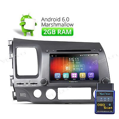 OBD-II Android 6.0 2GB Car DVD Player GPS Head Unit for Honda Civic Dash Radio 8