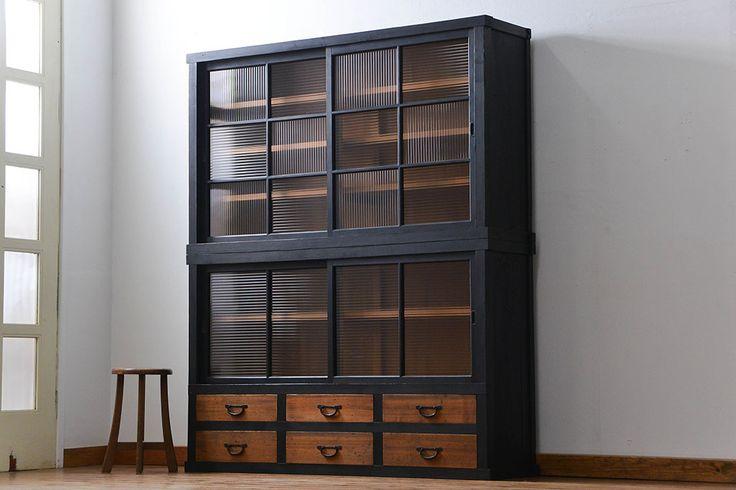 アンティークペイント モールガラス二段重ね収納棚(飾り棚、食器棚)