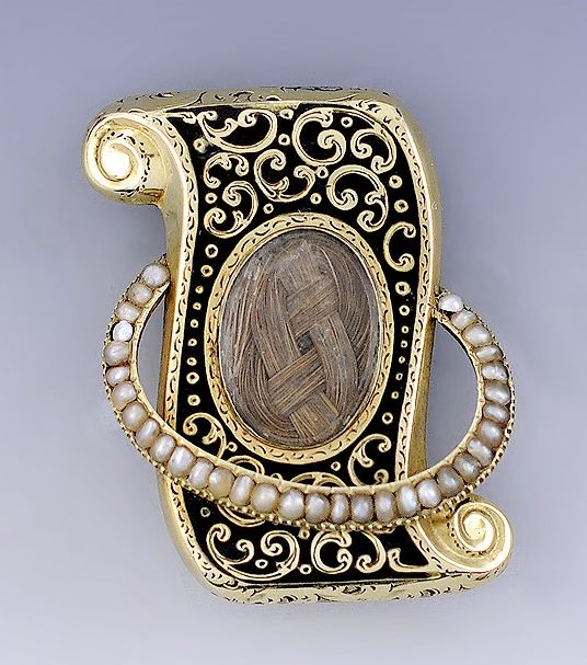 Stunning Victorian mourning brooch with hair weave and small, tiny seed pearls.