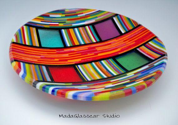 Strip Cut MultiColor Fused Glass Bowl by MadaGlasscarStudio, $130.00
