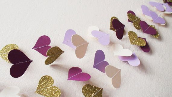 Ivory Lilac Purple Gold glitter heart paper by HelenKurtidu #purpleheartgarland #papergarland