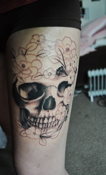 77 best images about skull tattoos on pinterest the for Skull leg tattoos