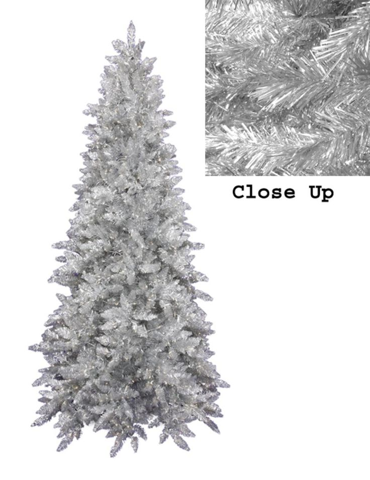9' Downswept Silver Tinsel Noble Pine Slim Artificial Christmas Tree - Unlit