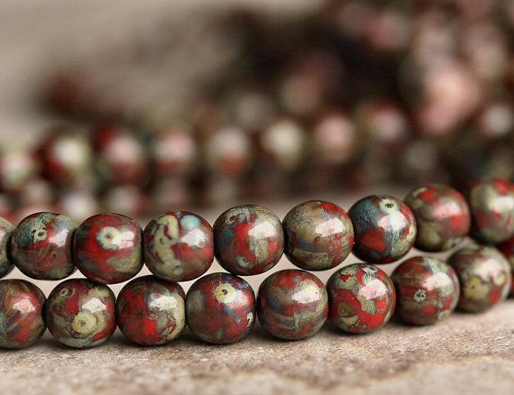 Red Picasso 6mm Czech Glass Round Druk Bead : by BobbiThisnThat