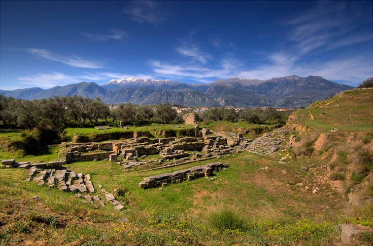 Ruins at Sparta with Taygetos Mountains in the background.