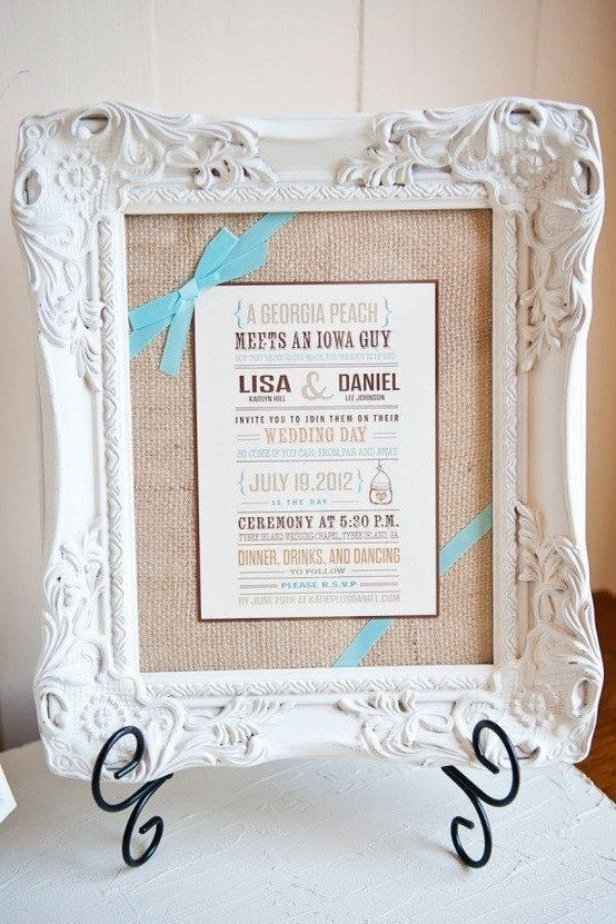 Frame their wedding invitation: | 14 Easy And Inexpensive Wedding Gift Ideas