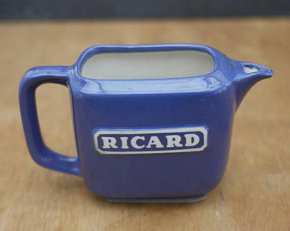 Vintage French Ricard Pastis Mini Ceramic Jug Pitcher . Mini