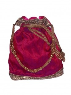 Fuchsia pink potli with golden pearls and beaded thread