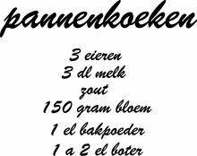 pannekoeken recept muursticker, te koop via www.stickerplace.nl