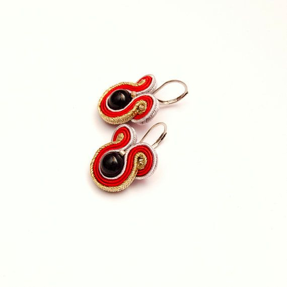 Red gold earrings dangle small black bead earrings by MANJApl