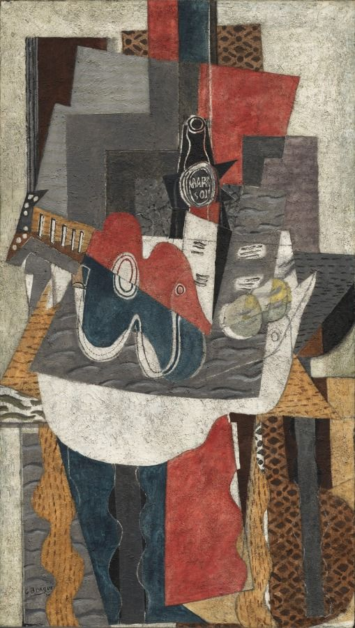 Guitar And Bottle Of Marc On A Table 1930 Georges Braque French 1882 1963 Cubism New Way
