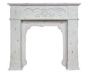 Cornice per camino in legno Firenze bianco - 100x97x21 cm  SHABBY ...