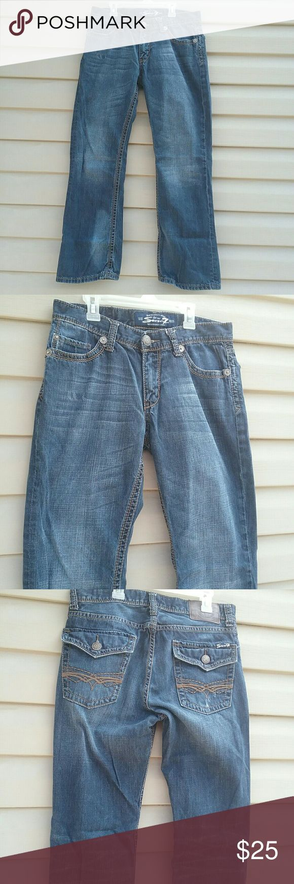 Mens Seven 7 jeans Mens Seven7 jeans excellent used condition worn a few times size 32/30 with back flam pockets  waist is 32 in. Leg inseam is 28.5 in. Seven7 Jeans Bootcut