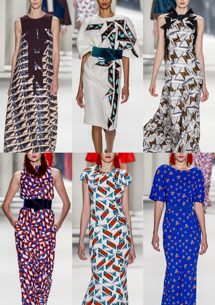 Carolina Herrera A/W 2014/15-Geometric and Tessellated Pattern – Depth and Dimension – Appliquéd Details – Bold Abstract Shapes – Red and Blue Colour palettes – Hand Painted Pattern – Graphic and Simple Repeated Prints – Modern Simplicity – Geometry
