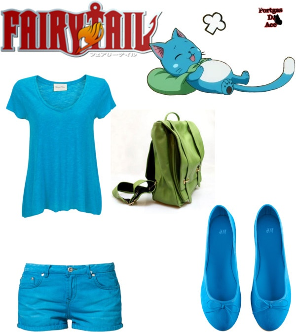"""Fairy tail: happy the cat outfit"" by theaudj on Polyvore"