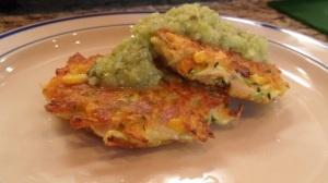 Zucchini cakes with tomatillo avocado salsa