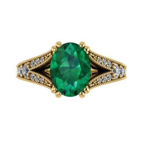 Wedding and Engagement Ring, Vintage Style Handmade Ring, Natural Emerald Stone and Genuine Conflict Free Diamonds Set In Yellow Solid Gold by BridalRings on Etsy https://www.etsy.com/listing/207063996/wedding-and-engagement-ring-vintage