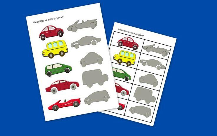 Alakészlelés fejlesztése (erre szükség lesz az írás-olvasás tanulásnál is): keresd meg az autók árnyékát - összekötős feladatlap és kivágható kártyák formájában: http://jatsszunk-egyutt.hu/autos-jatekcsomag/