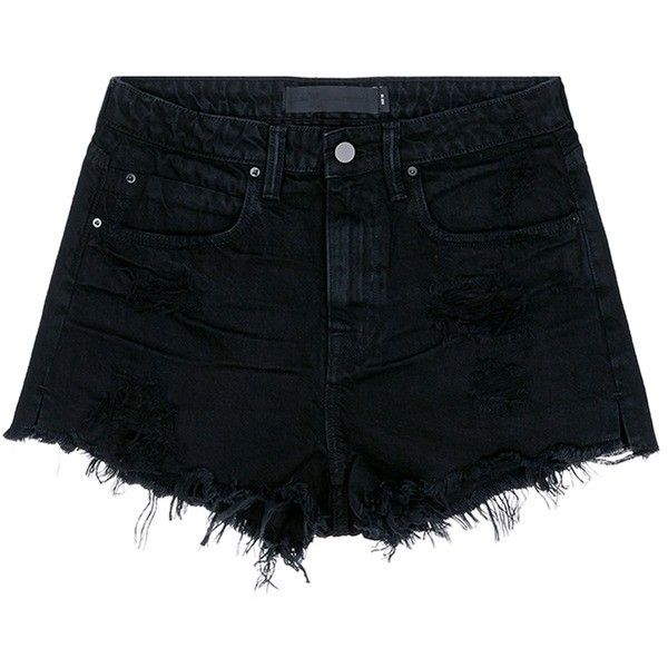 Alexander Wang 'Bite' distressed cut-off denim shorts found on Polyvore featuring shorts, pants, short, black, ripped denim shorts, denim shorts, destroyed denim shorts, high waisted shorts and cut off jean shorts