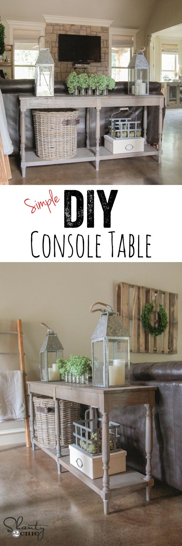 Diy crate console table - Free Woodworking Plans Diy Console Table
