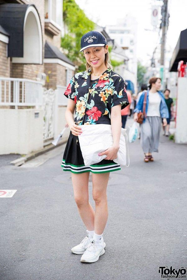 Misato Funktique in Floral Shirt, M.Y.O.B NYC Clutch & Nike (Tokyo Fashion, 2015)