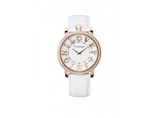 Analoog rosé gouden Fashiontv dames horloge model Grand Marilyn met wit leder horlogeband
