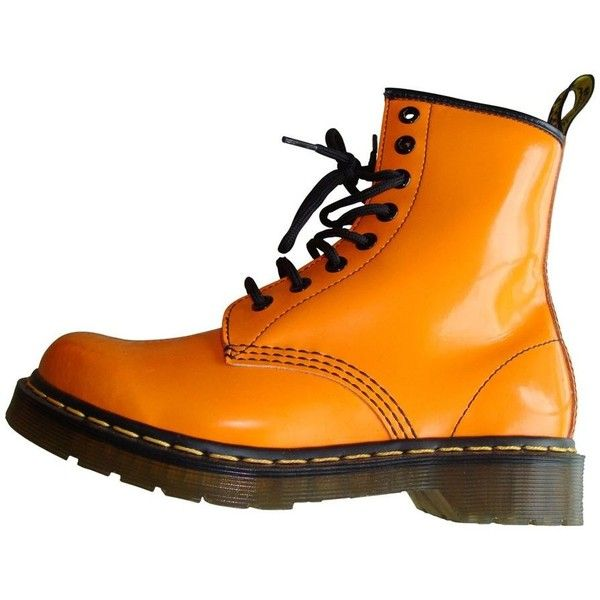 Orange Leather Ankle boots DR. MARTENS (£52) ❤ liked on Polyvore featuring shoes, boots, ankle booties, bootie boots, dr martens boots, dr. martens, genuine leather boots and leather boots
