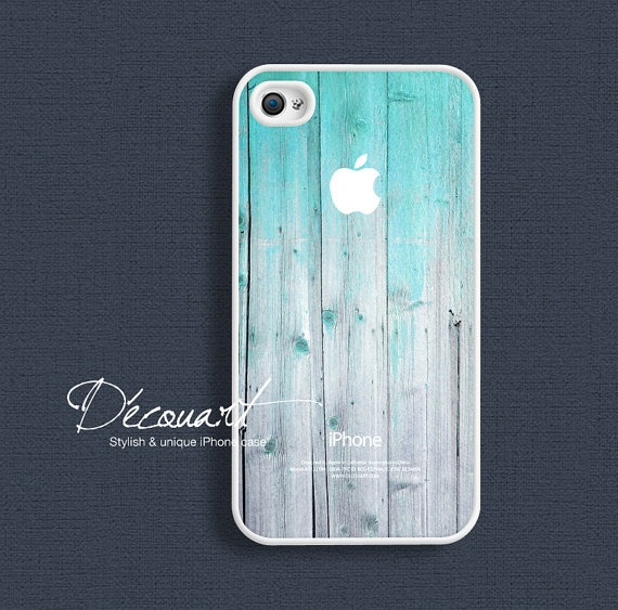 iPhone 4 case, mint wood pattern with apple logo $16.99