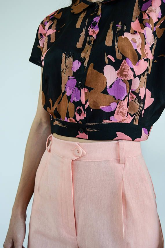 Silk Crop shirt / Crop Top / Silk Cropped Top / Vintage Top