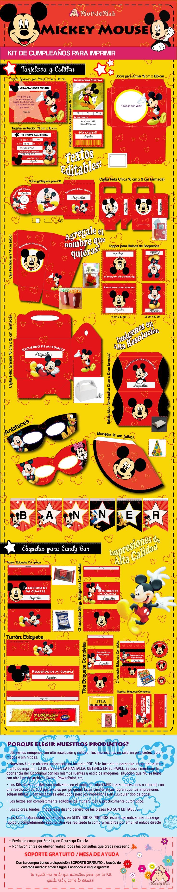 Kit de cumpleaños para imprimir Mickey Mouse.  #Ideas #DIY #MundoMab