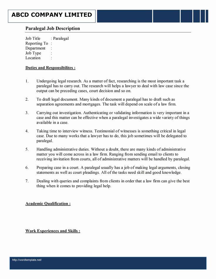 Paralegal Job Description Resume Elegant Paralegal Job
