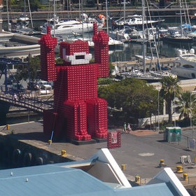 Coke man in cape town build with coke crates