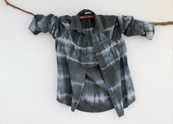 WAYFARER . men's tie dye shirt . M  Medium . slate black