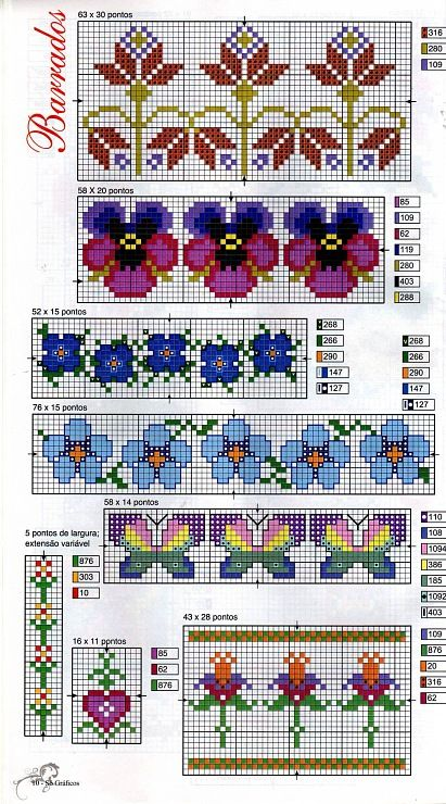 6 floral borders, butterfly borders and heart border