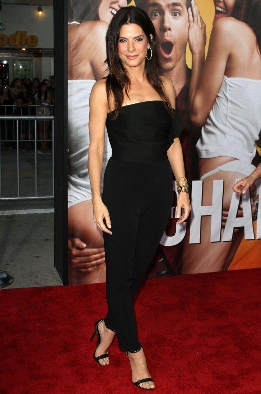 Sandra Bullock in Lanvin Strapless Jumpsuit