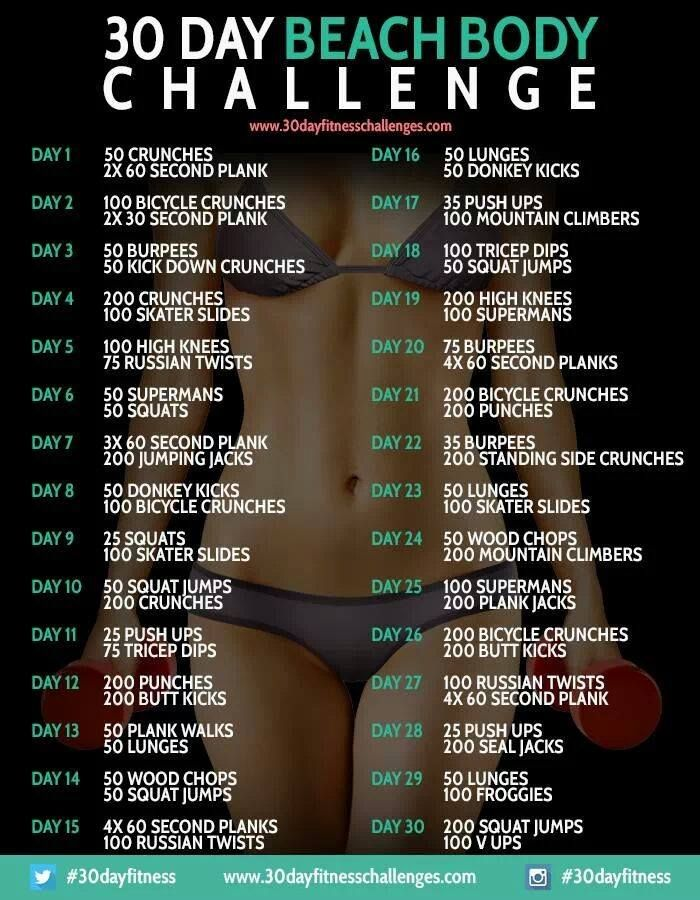 30 Day Beach Body Challenge My challenge for the next 2 months..gonna cut it in half but it's still going to be worth it!