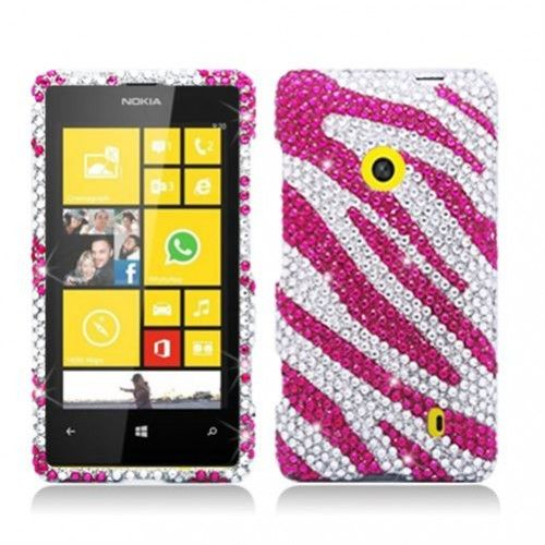 """Sparkling, Bright, Luxurious"" are the words we can use to describe the Zebra Hot Pink White w/ Full Rhinestones #Hard #Case #Cover!!! It is not only protect your #Nokia #Lumia #520 #521 but also make it luxurious and noble!!! Get it at @Acetag!!! $14.99"