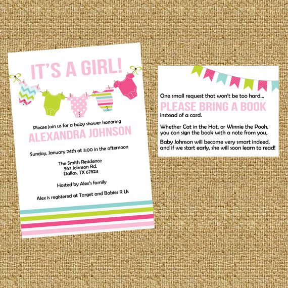 Baby Shower Invitation Plus Bring A Book Instead Of Card