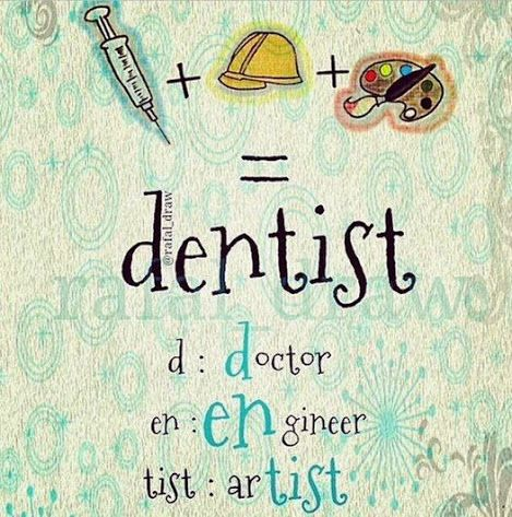Dentist = D: Doctor EN: ENgineer TIST: arTIST #Doctor #Engineer #Artist #DentalHygiene #Dentist #Dentistry #DentalStudent #DentalAssistant #DentalSchool #Dental #Dentaltown